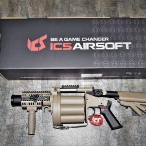 一芝軒 ICS GLM 六管 多管 榴彈 發射器 40mm 撒旦之輪 不含榴彈 沙色 ICS-191