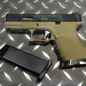 WE WET G19 烙印戰鬥版 原力 GBB 瓦斯手槍 黑滑套 金槍管 沙色握把 WE-G19-BGD