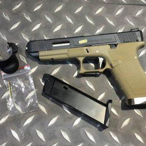 WE WET G34 烙印戰鬥版 原力 金屬 瓦斯手槍 GBB 黑滑套 銀槍管 沙色握把 WE-G34-BSD