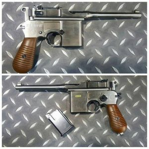 WE M712 GBB 盒子砲 盒子炮 銀色 單連發 金屬瓦斯槍 短彈匣 含塑膠仿木槍托 WE-M712S