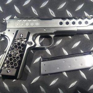 WE 1911 蜂巢 加大氣室 瓦斯槍MEU M1911 GBB 手槍 銀色 WE-1911-SS