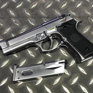 WE M9 M92 貝瑞塔 單連發版 全金屬瓦斯槍 金屬滑套+金屬槍管 仿真後座力 銀色 WE-M92-DSL