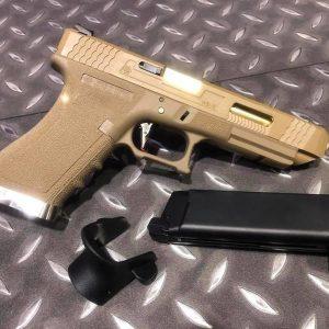 WE WET GLOCK G34 GBB 烙印戰鬥版 原力 金屬 瓦斯 手槍 沙滑套 金槍管 沙色握把 WE-G34-DGD