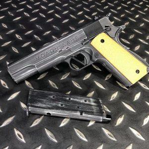 AW CUSTOM M1911 ΜΟΛΩΝ ΛΑΒΕ 舊化黃柄 全金屬瓦斯槍 WE 系統 NE2001