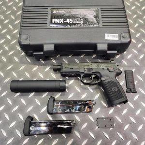 Cybergun FNX-45 GBB 手槍 豪華特仕版 1槍2匣+滅音管+RMR鏡座+槍箱 黑色