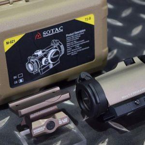 SOTAC T2 風格紅綠光 內紅點 快瞄鏡 附GE一體鏡座 沙色 GZ-T2-DE