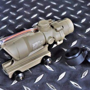 高仿真凸字 類Trijicon ACOG TA31 光纖 四倍瞄準鏡 小海螺 沙色 TA31-RED-DE