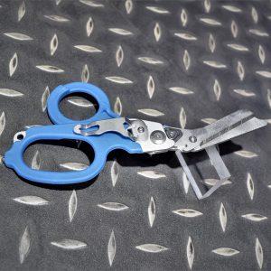 EMT 六合一戰術折疊剪刀 多功能救援剪 醫療剪刀 玻璃擊破 戶外急救工具 藍色 JDT455-BU