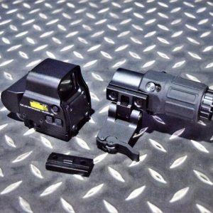 EO-Tech風格 EXPS3 快拆內紅綠點全息瞄 G33 3倍鏡全套 無刻印 黑JA-5357-BK
