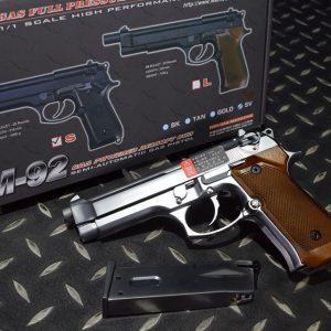 WE M9 M92 單發 木紋版 全金屬瓦斯手槍 貝瑞塔 銀色 WE-M92-SM
