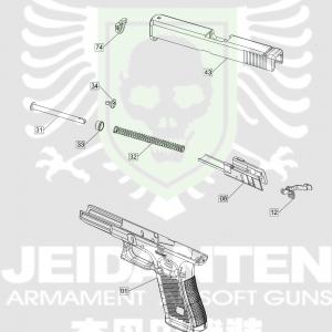 WE Glock 克拉克 G17-V G19-V G19X-V 原廠零件 爆炸圖 零件下標區